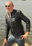 Leather jacket / leather sweater made of REAL lamb nappa leather in black for men