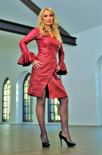 Leather dress in genuine leather as designer dress in dark red